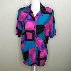Caliche Vintage Jewel Toned Button Down Shirt M